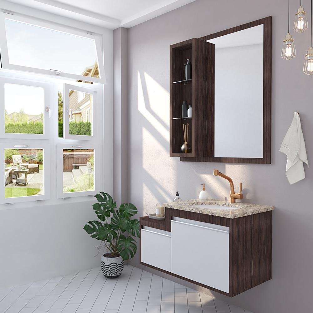 Conjunto versa gaam gabinetes seu estilo de banheiro