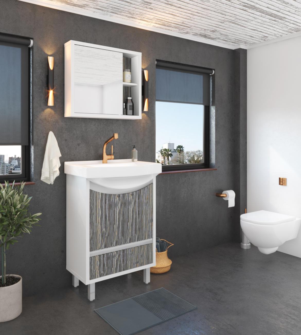 Gabinete Gaam seu estilo de banheiro com arandelas de iluminação