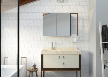 Banheiro com ambiente feng shui luz, paredes claras, ambiente harmônico