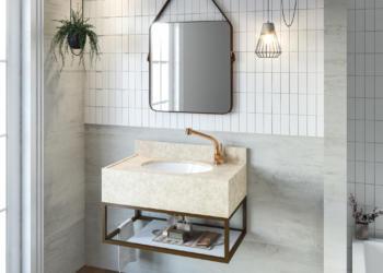 Banheiro clean ou colorido com bancada yaris gaam seu estilo de banheiro